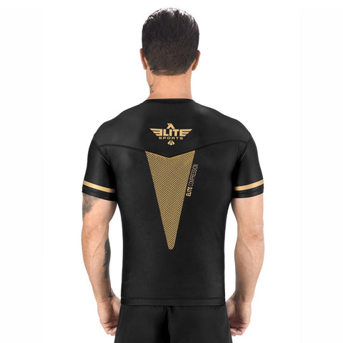 Elite Sports Star Series Sublimation Black/Gold Short Sleeve Muay Thai Rash Guard