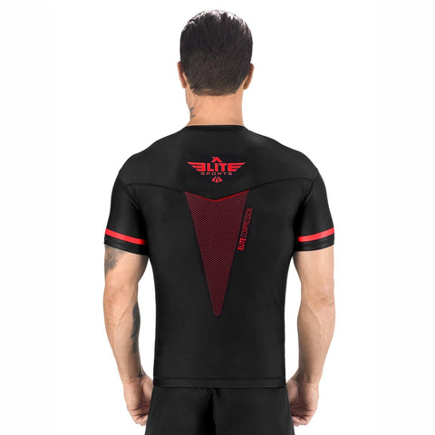 Elite Sports Star Series Sublimation Black/Red Short Sleeve MMA Rash Guard