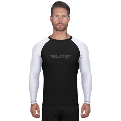 Elite Sports Standard Black/White Long Sleeve Muay Thai Rash Guard
