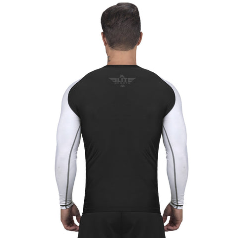 Elite Sports Standard Black/White Long Sleeve Judo Rash Guard