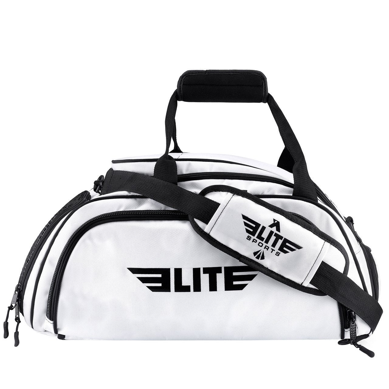 Elite Sports Warrior Series Large White Boxing MMA BJJ Gear Gym Duffel Bag & Backpack