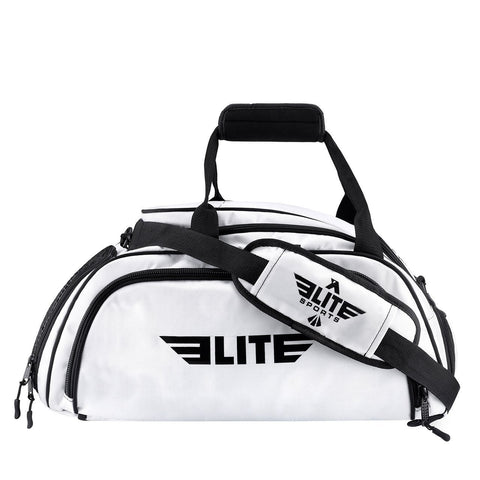 Elite Sports Warrior Series Medium White Boxing MMA BJJ Gear Gym Duffel Bag & Backpack