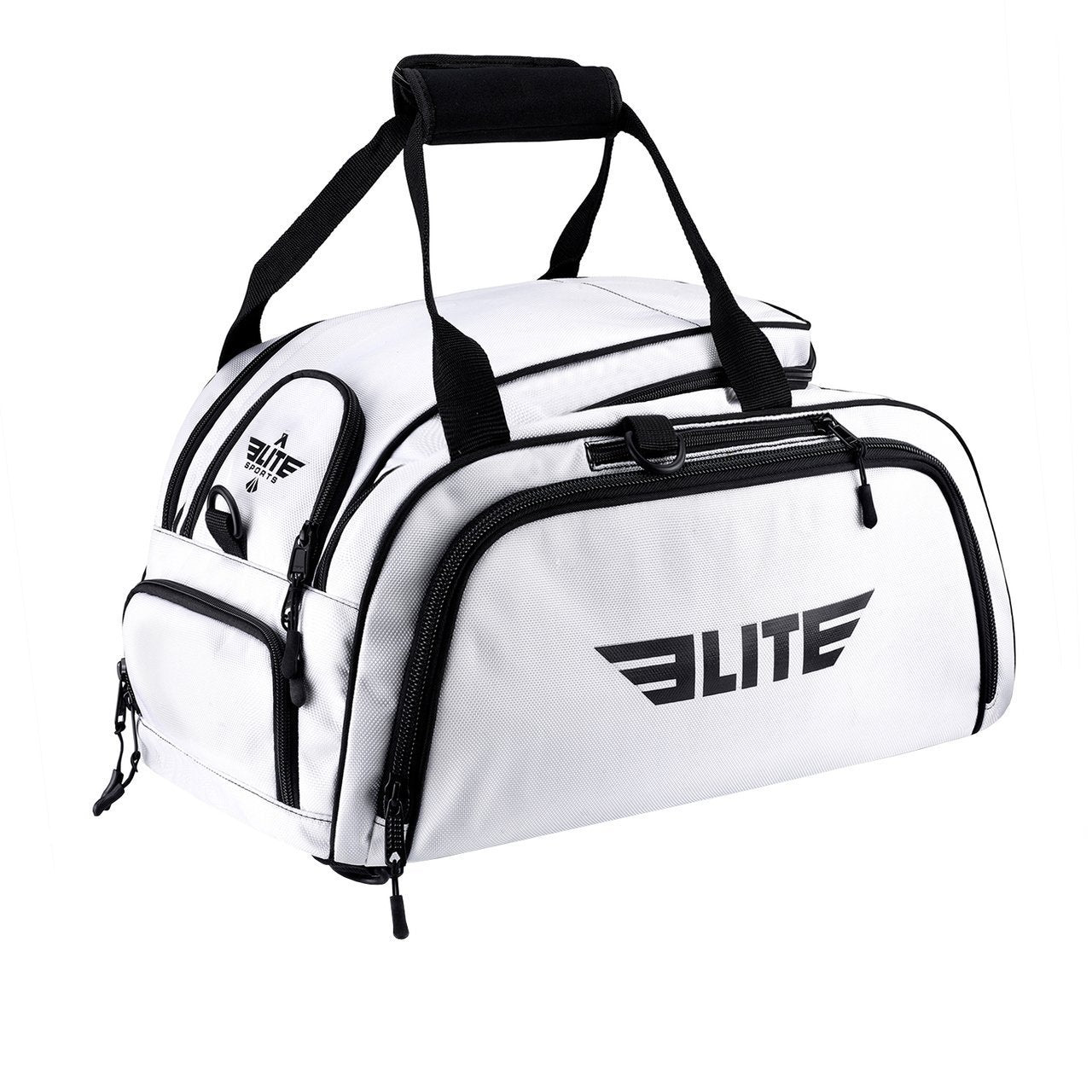 Load image into Gallery viewer, Elite Sports Warrior Series White Large Duffel Training Gear Gym Bag & Backpack
