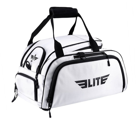 Elite Sports Warrior Series White Medium Duffel Training Gear Gym Bag & Backpack