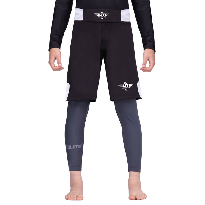 Elite Sports Jack Series Black/White Kids Bjj NO-GI Shorts