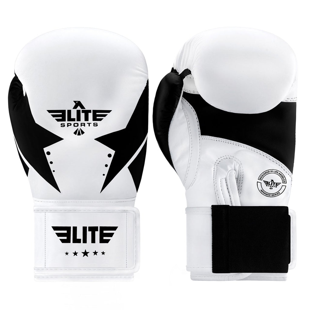 Elite Sports Star Series White/Black Adult Boxing Boxing Gloves