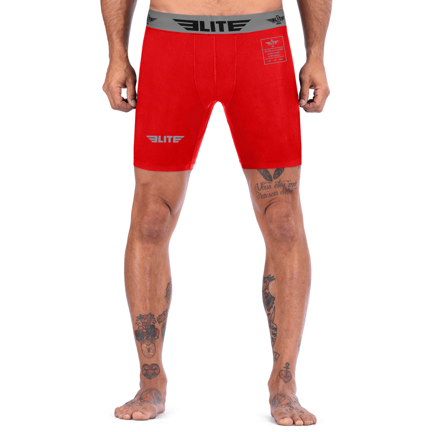 Elite Sports Red Compression Brazilian Jiu Jitsu BJJ Shorts