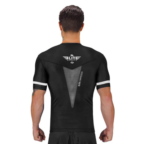 Elite Sports Star Series Sublimation Black/White Short Sleeve Wrestling Rash Guard