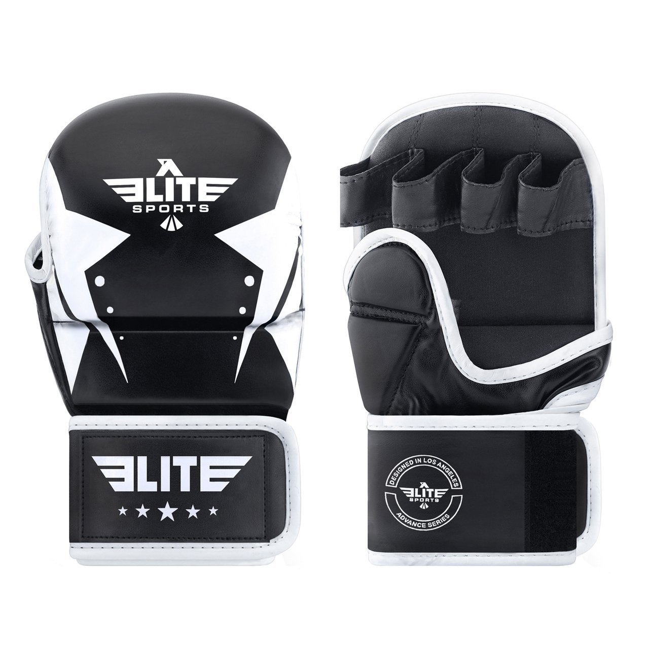 Elite Sports Star Series Black/White MMA Grappling Gloves