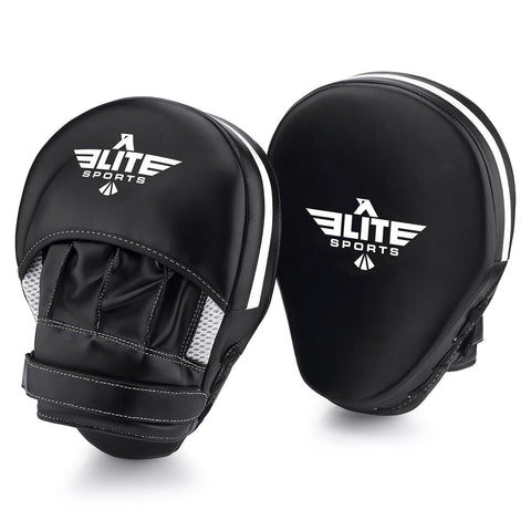 Elite Sports Essential Curved Black/White Muay Thai Punching Mitts