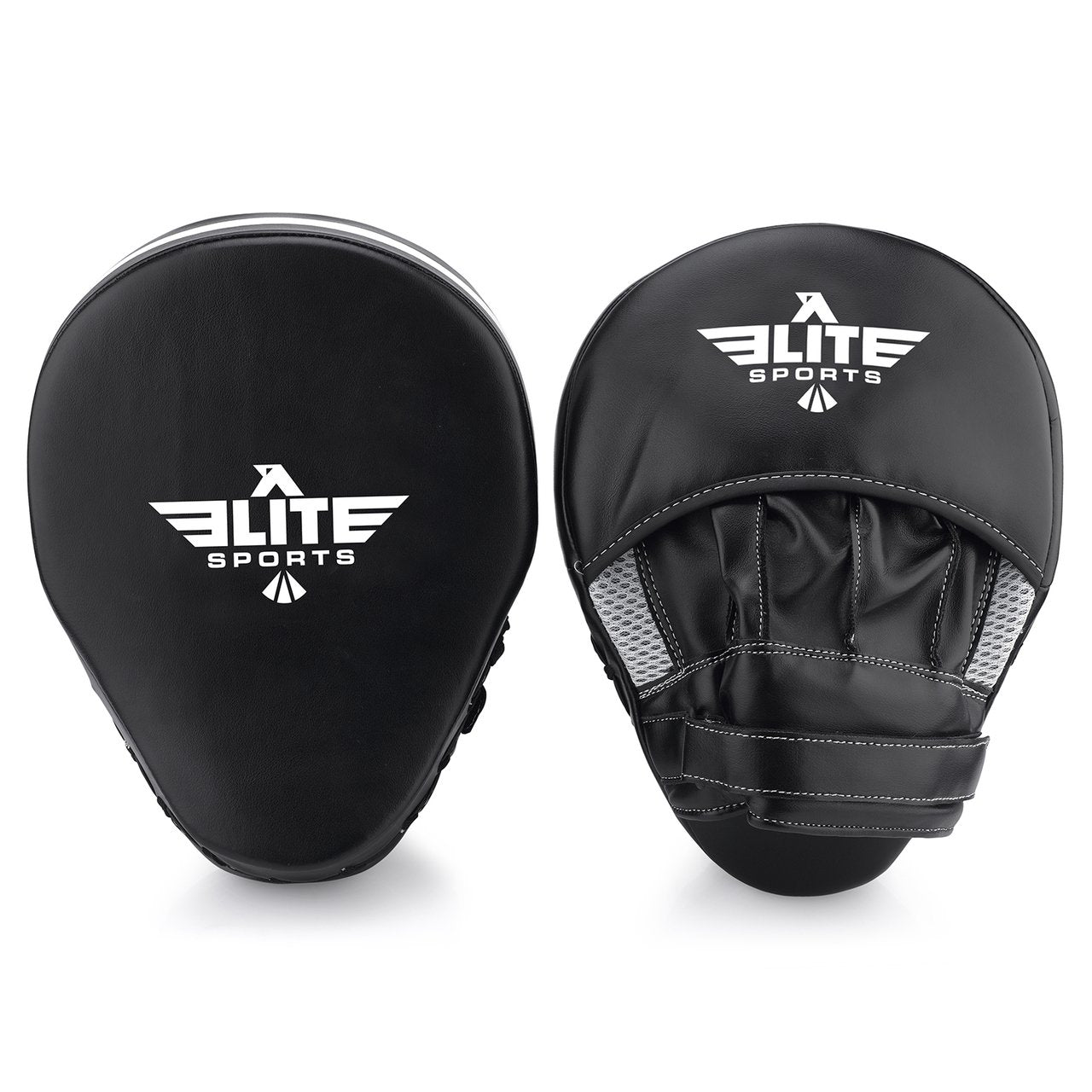 Load image into Gallery viewer, Elite Sports Essential Curved Black/White Muay Thai Punching Mitts