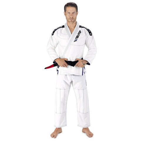 Elite Sports Ultra Light Preshrunk White Adult Brazilian Jiu Jitsu BJJ Gi With Free White Belt