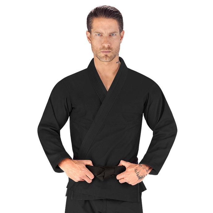 Elite Sports Essential Lightweight Preshrunk Black Adult Brazilian Jiu Jitsu BJJ Gi With Free White Belt