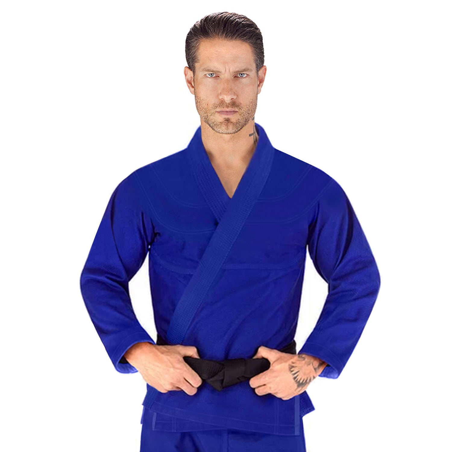 Elite Sports Essential Lightweight Preshrunk Blue Adult Brazilian Jiu Jitsu BJJ Gi With Free White Belt