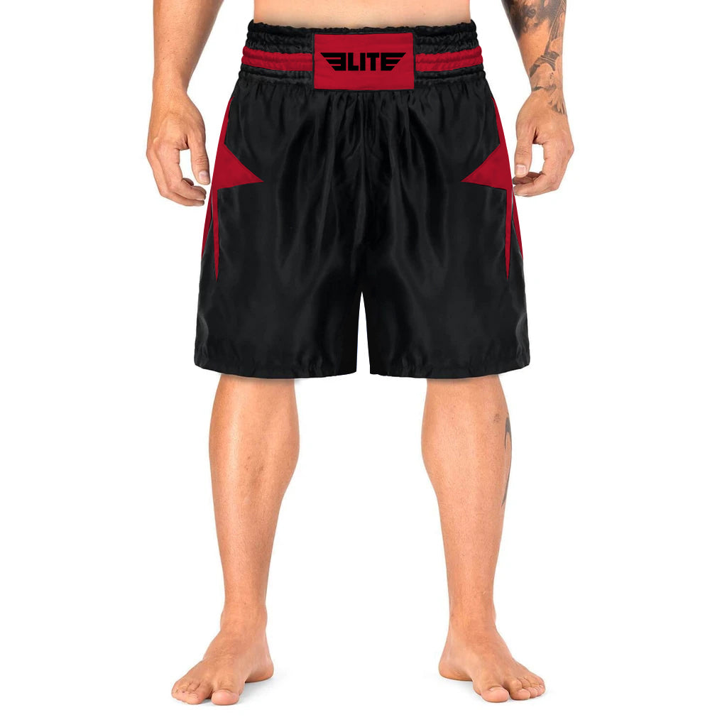 Elite Sports Star Series Sublimation Black/Red Boxing Shorts