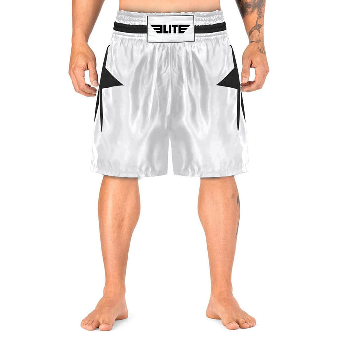 Elite Sports Star Series Sublimation White/Black Boxing Shorts