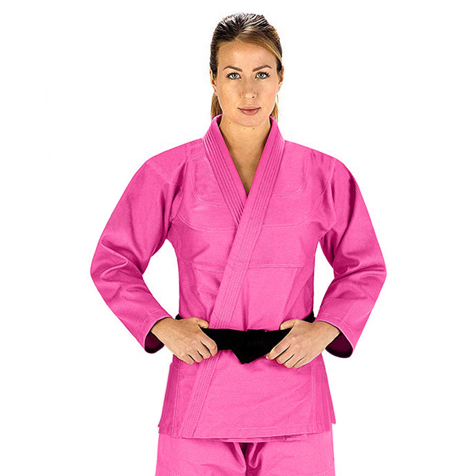 Elite Sports Essential Lightweight Preshrunk Pink Adult Brazilian Jiu Jitsu BJJ Gi With Free White Belt