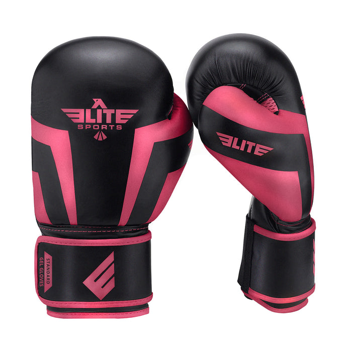 Elite Sports Standard Series Black/Pink Adult Boxing Gloves