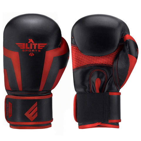 Elite Sports Standard Series Black/Red Adult Boxing Gloves