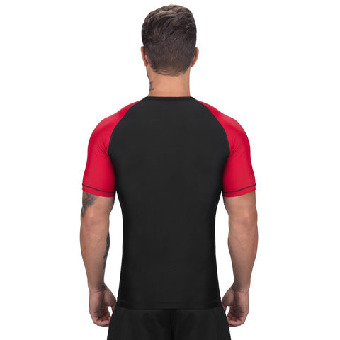 Elite Sports Standard Black/Red Short Sleeve Muay Thai Rash Guard