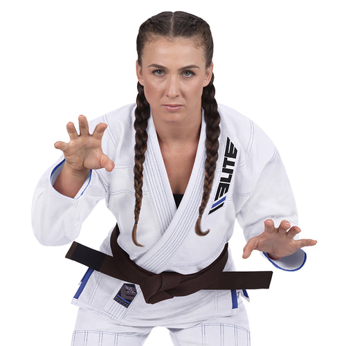 Elite Sports Ultra Light Preshrunk White Women Brazilian Jiu Jitsu BJJ Gi With Free White Belt