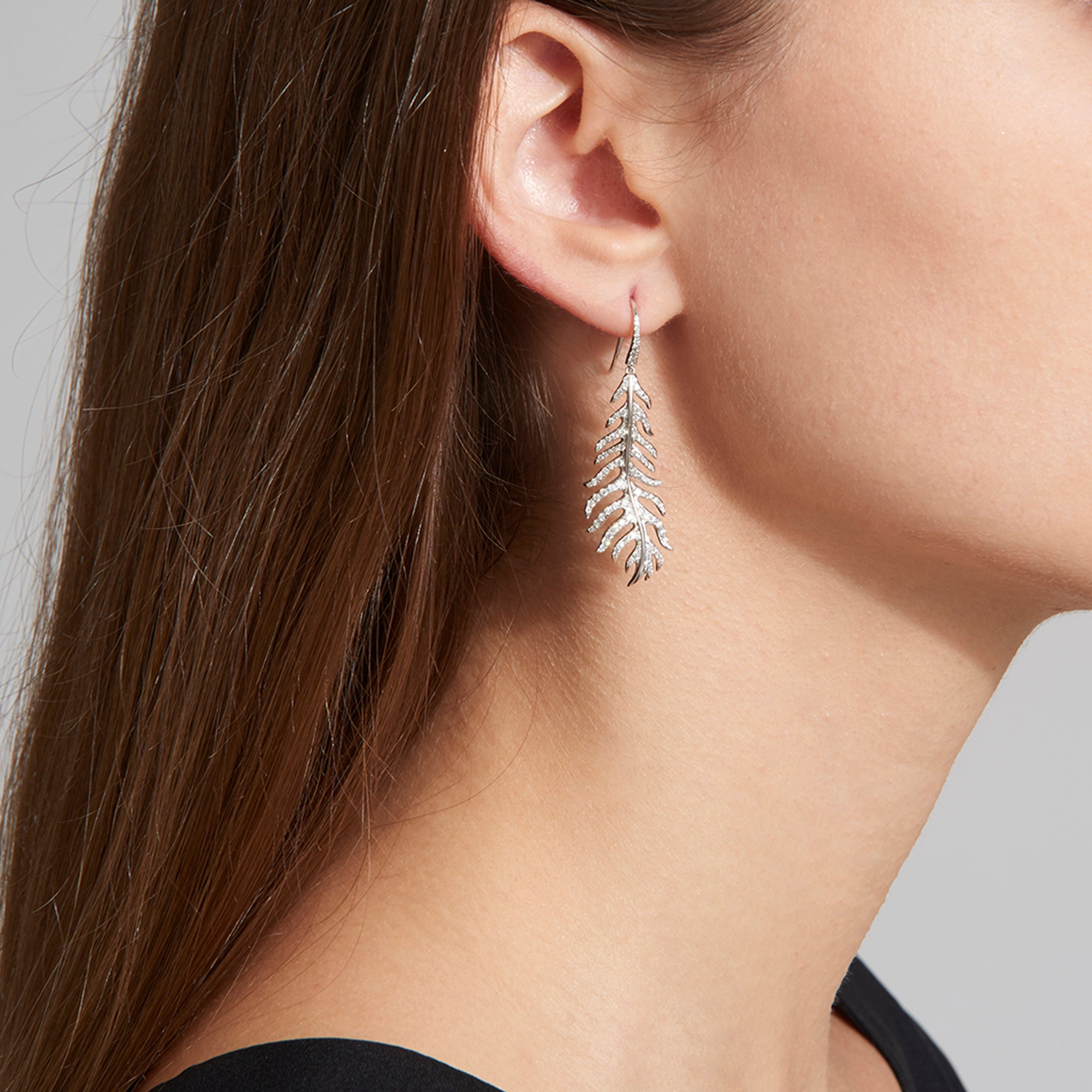 Mimi So Large Phoenix Diamond Feather Earrings