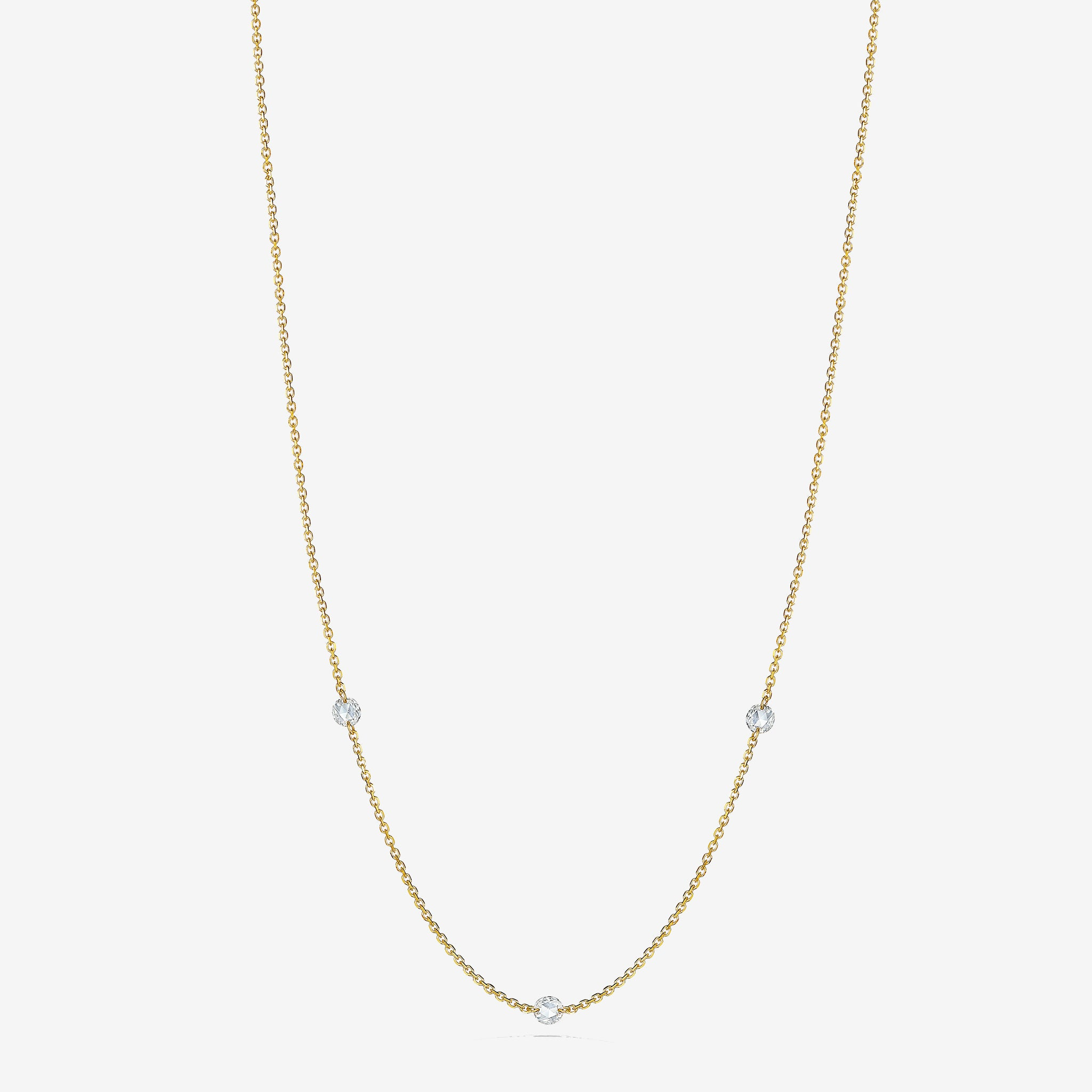 Rosette-Rose-Cut-Diamond-3-Station-Necklace_18k Yellow Gold