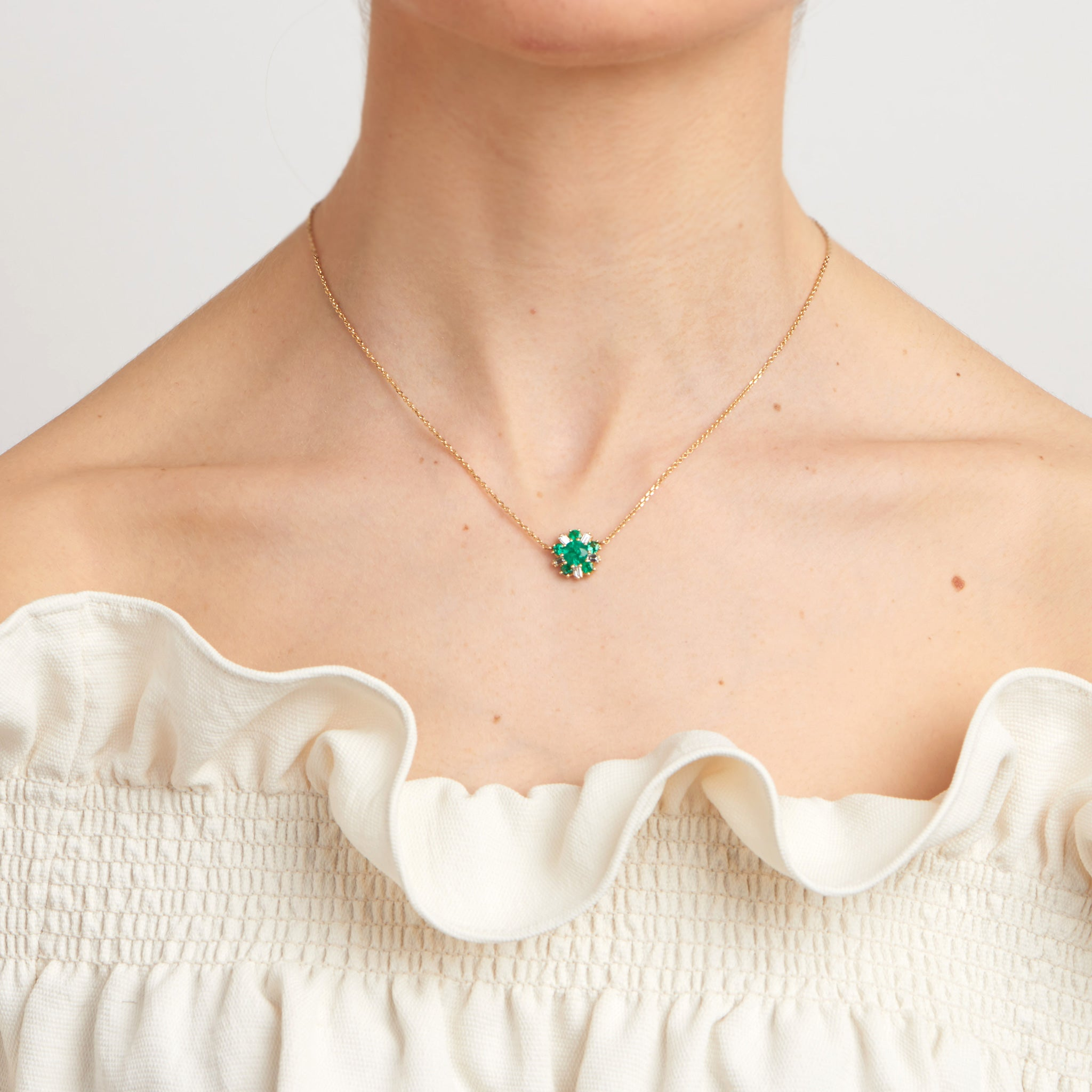 Mimi So Wonderland Ballerina Flower Emerald Necklace