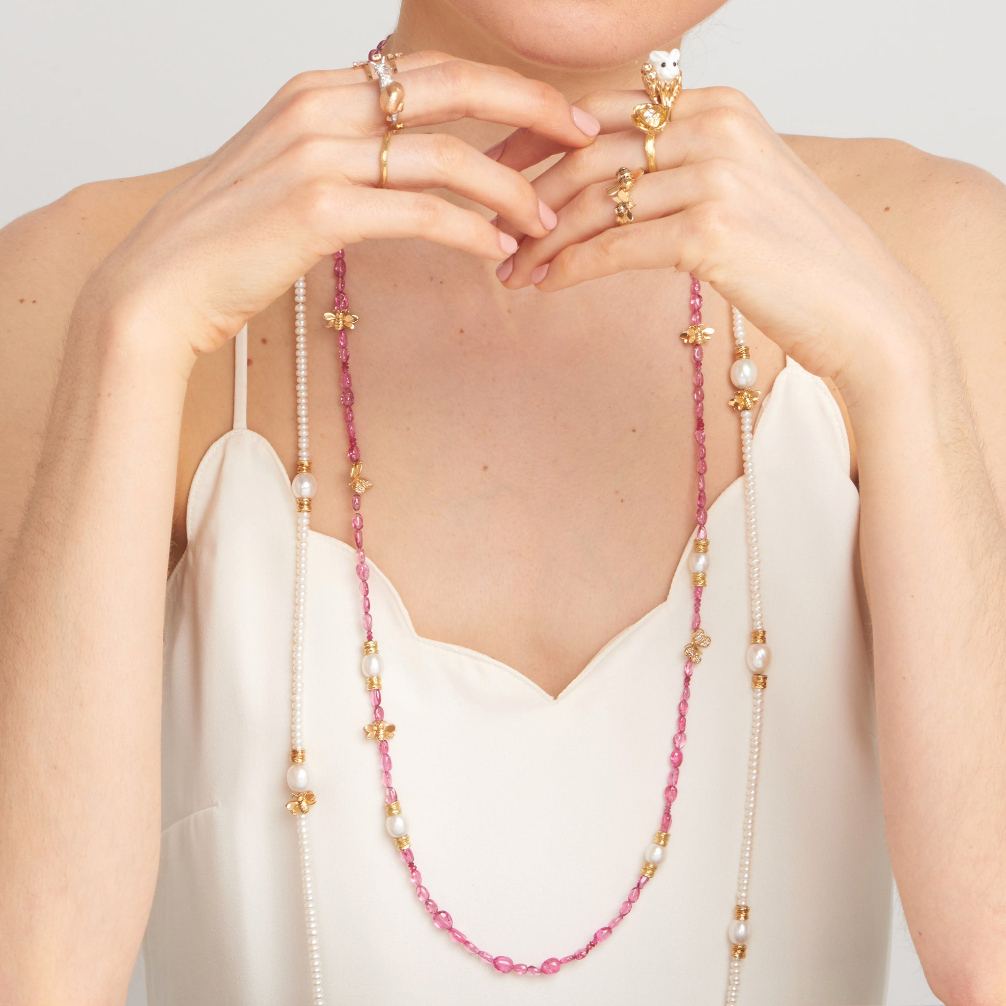 Wonderland Pink Spinel & Pearl Bead Necklace