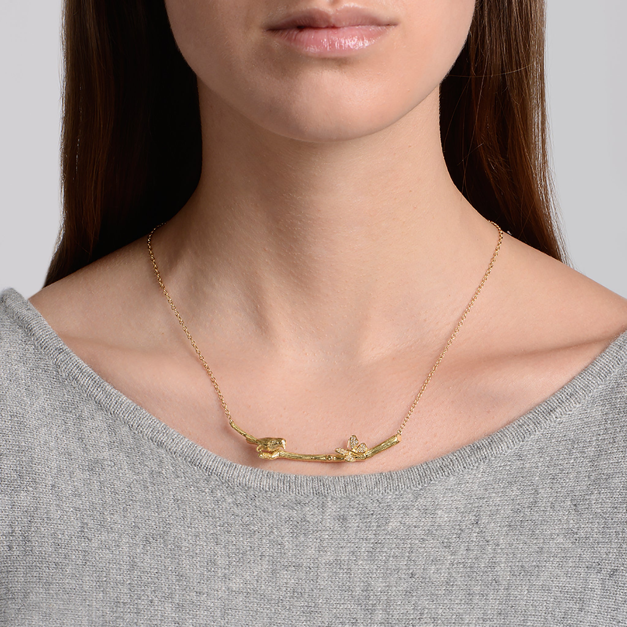 Wonderland Lovebird & Butterfly Twig Necklace