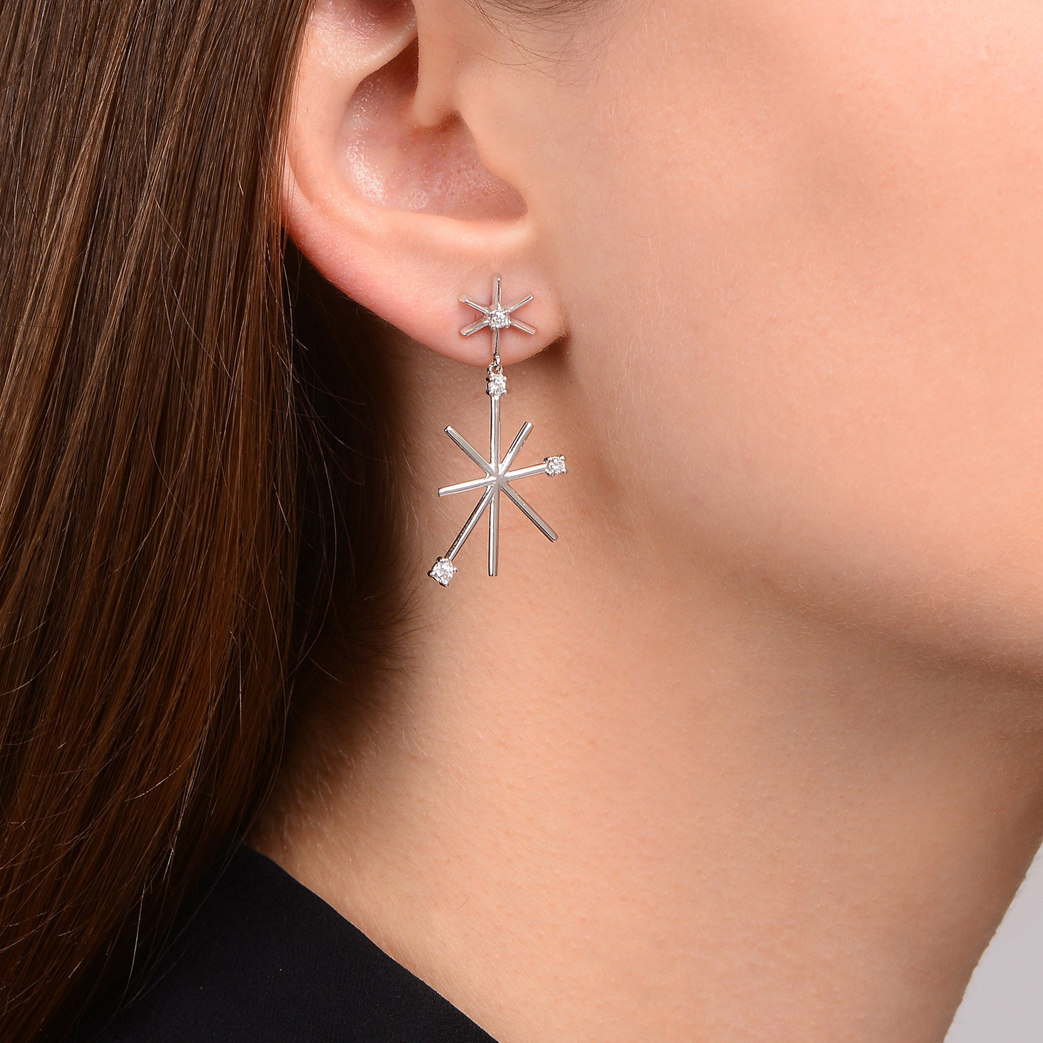 Piece Star Drop Earrings - Small