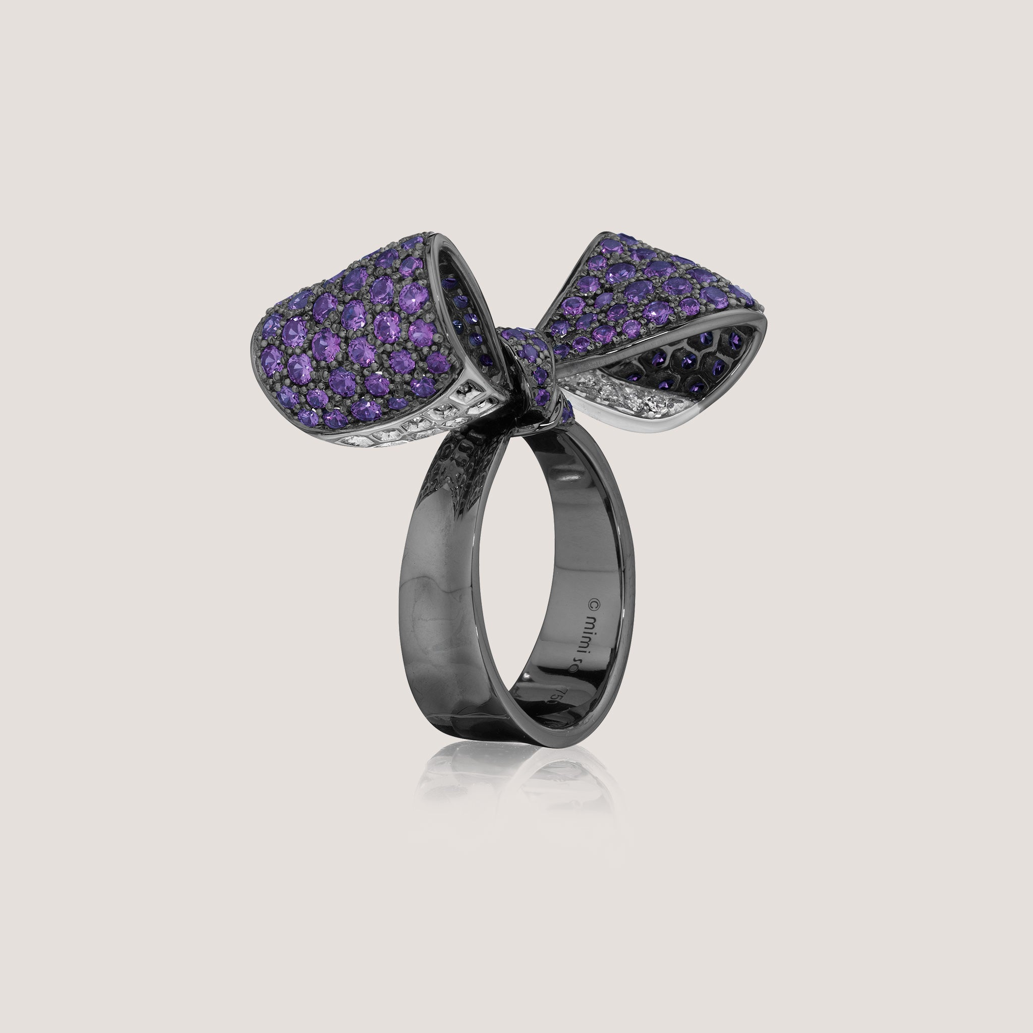Mimi So Amethyst Bow Ring Mid Size 18k Black Gold