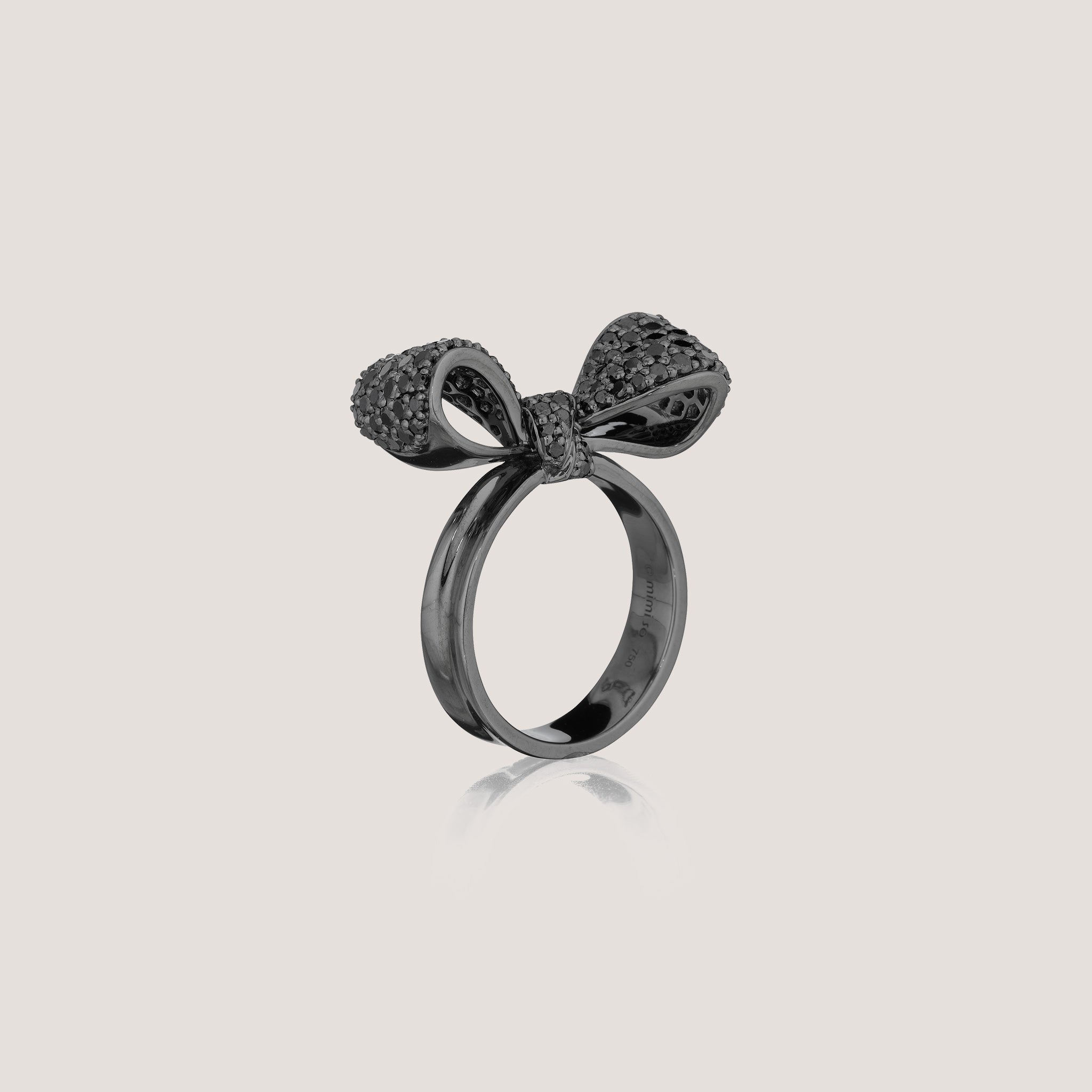 Mimi So Bow Collection Small Black Diamond Ring