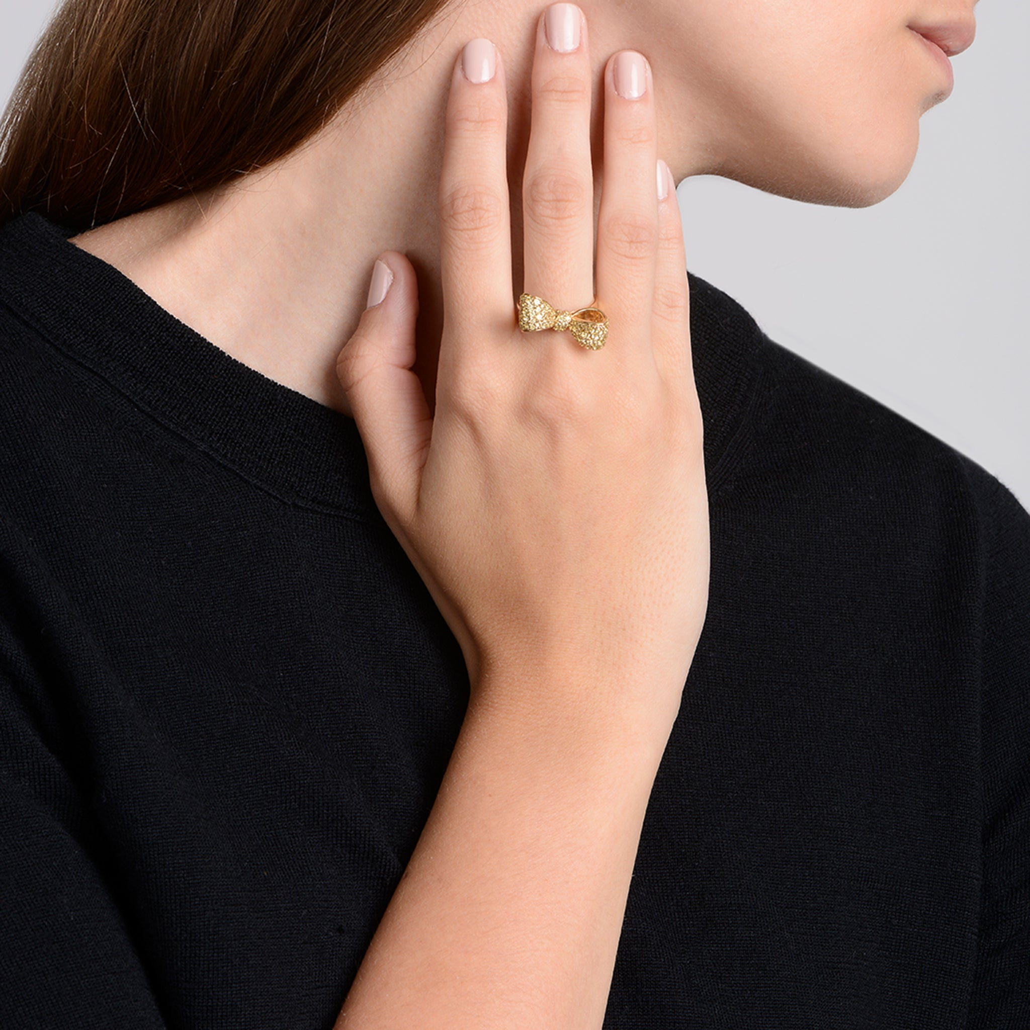Mimi So Yellow Sapphire Bow Ring Small 18k Yellow Gold