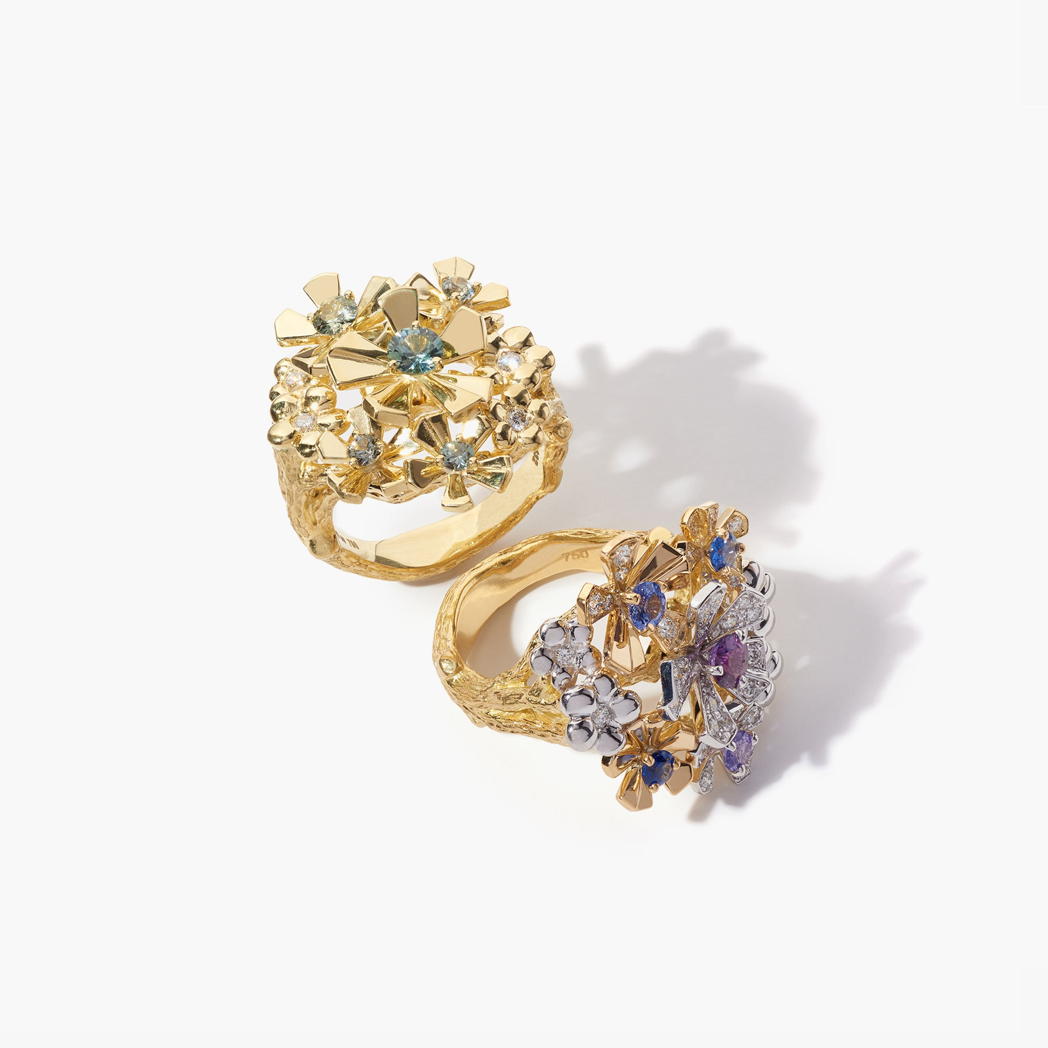 Mimi So Wonderland Green Sapphire Orchid Cluster Ring