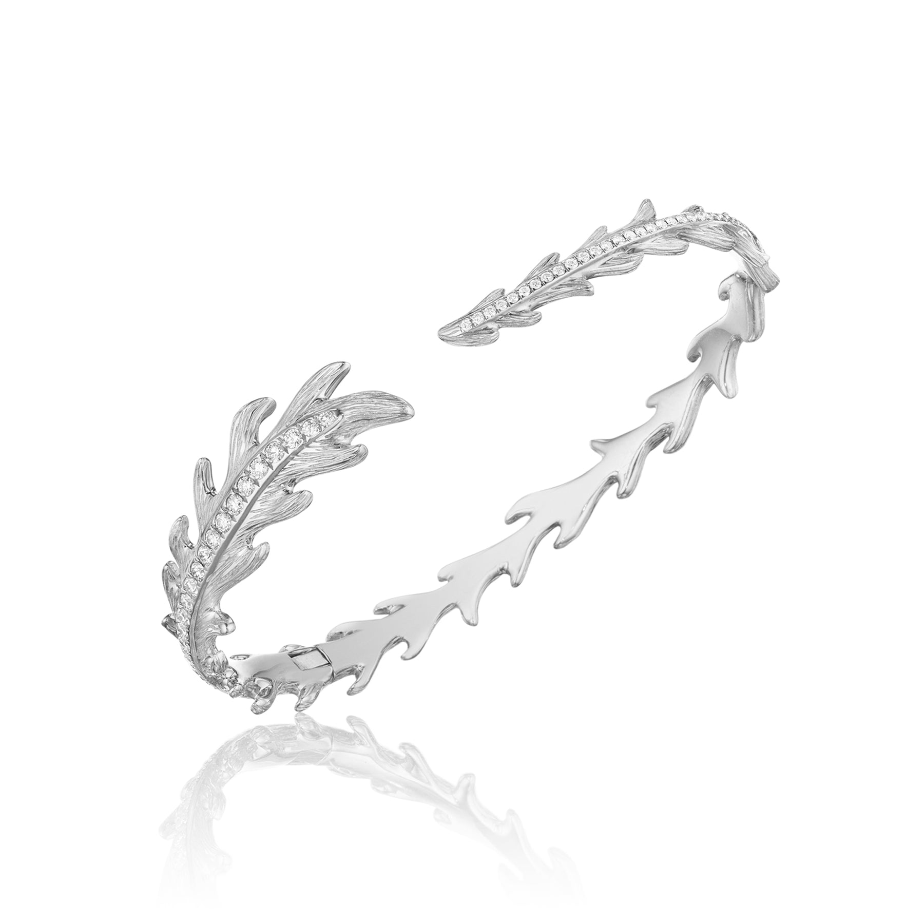 "Phoenix Feather Center Pav"" Cuff_18k White Gold"