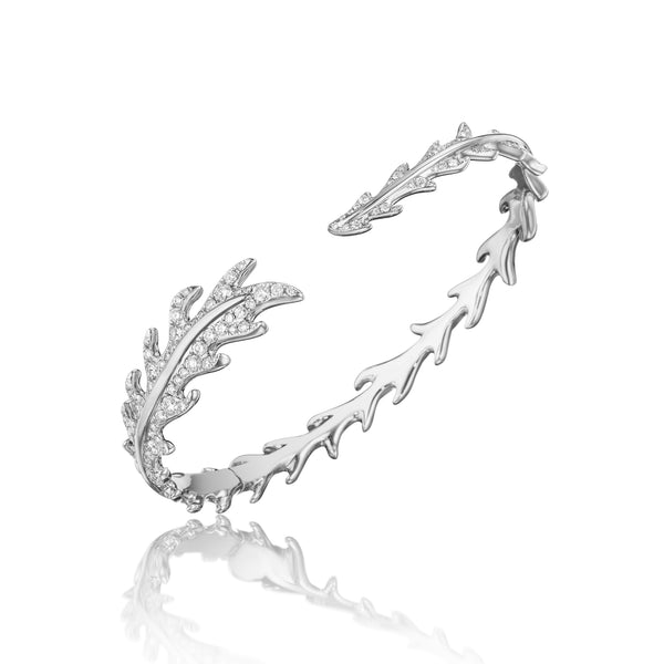 Phoenix Feather Pavé Diamond Cuff Bracelet_18k White Gold