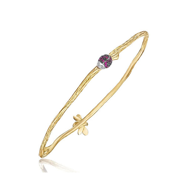 Wonderland-Oval-Twig-Ladybug-&-Bee-Bangle_18k Yellow/White Gold
