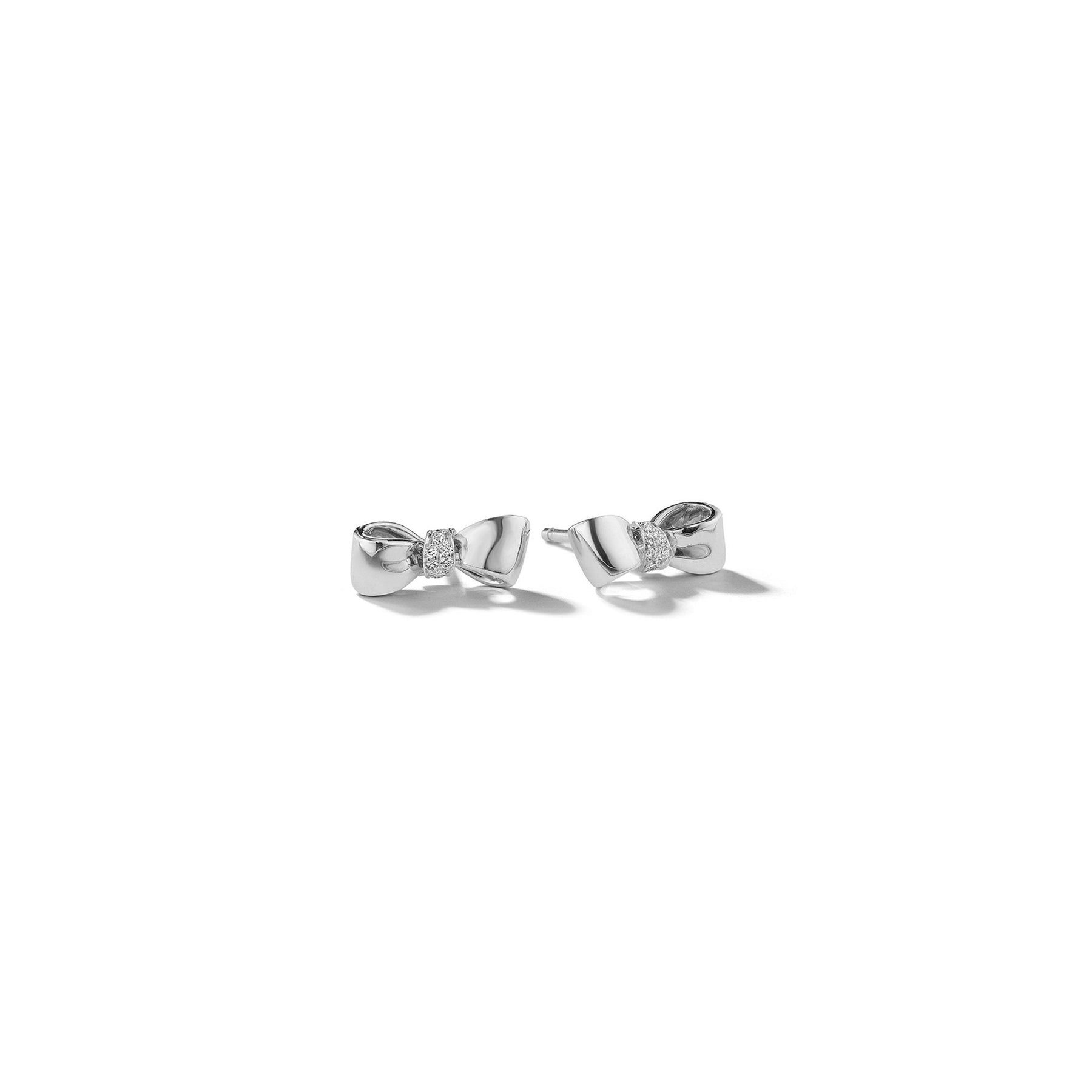 Bow Baby Diamond Knot Earrings_14k White Gold
