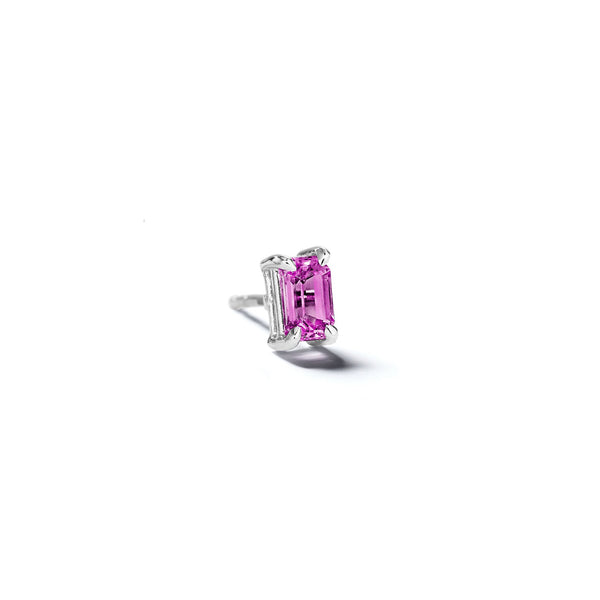 Mimi-So-Modern-Classic-Single-Pink-Sapphire-Stud-Earring_14k White Gold