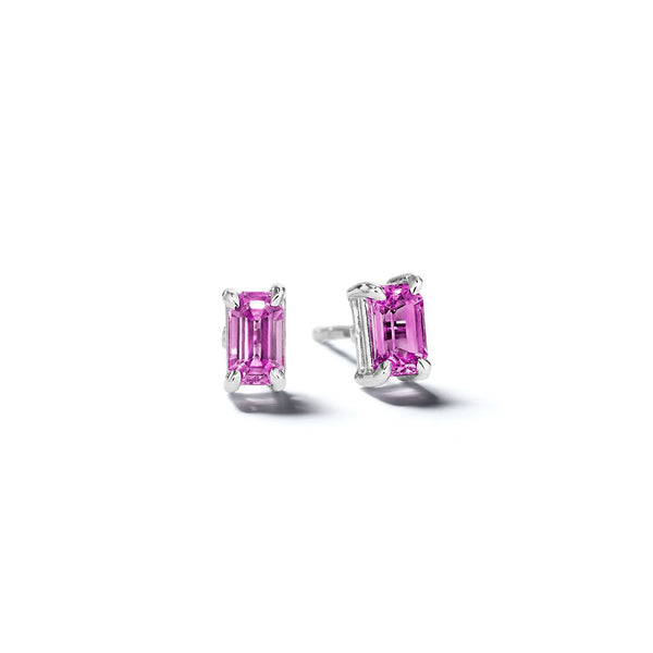 Mimi-So-Emerald-Cut-Pink-Sapphire-Stud-Earrings_14k White Gold