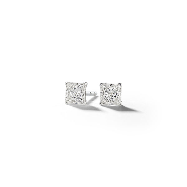 Princess Cut Diamond Stud Earrings_14k White Gold