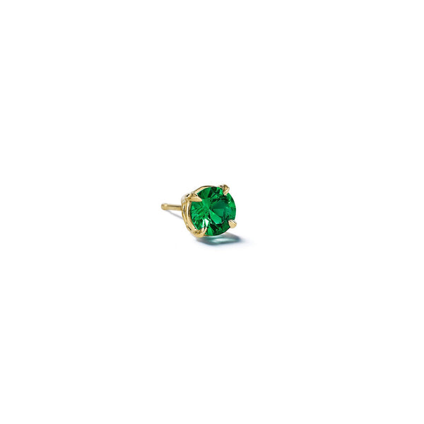 Mimi-So-Round-Brilliant-Cut-Emerald-Single-Stud_18k Yellow Gold
