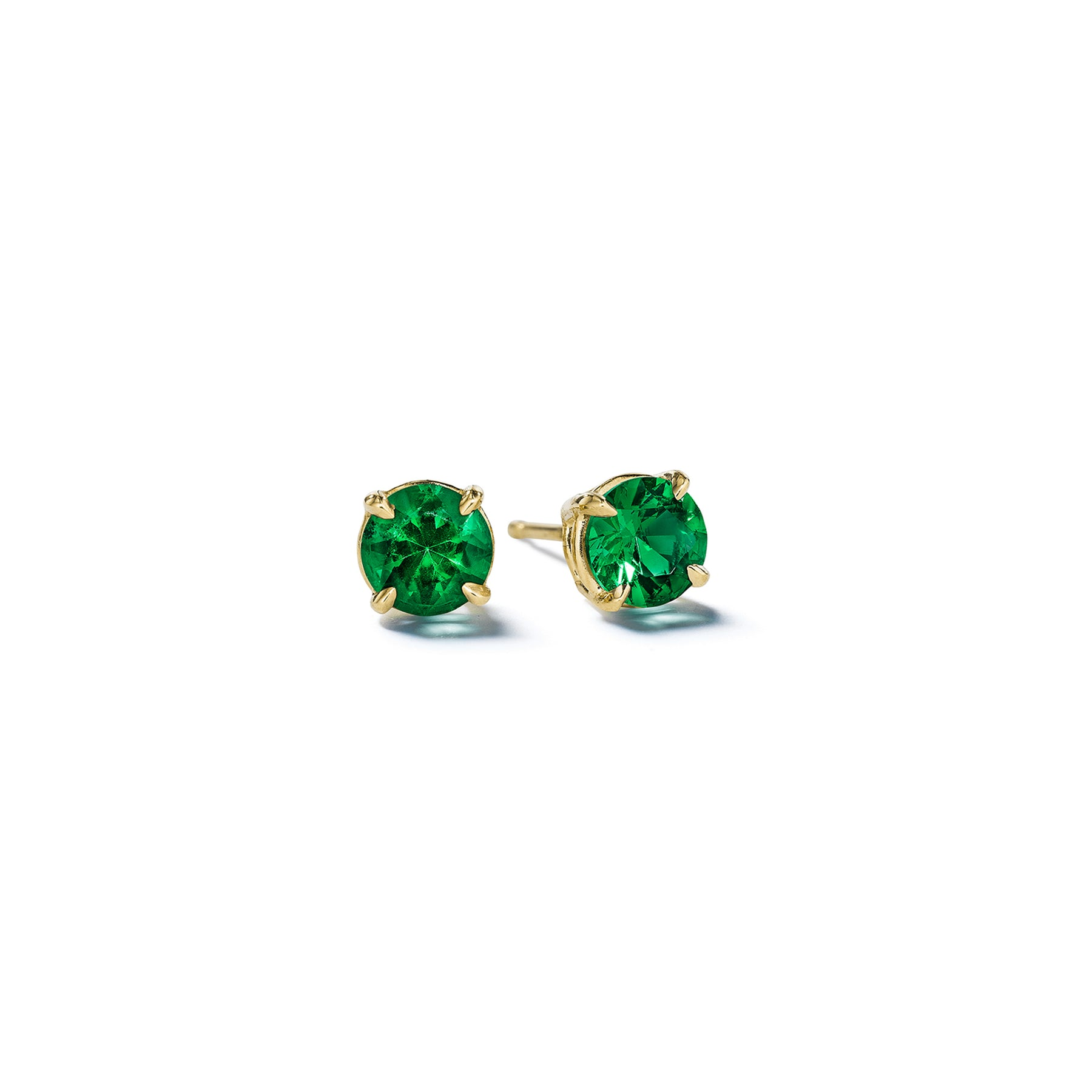 Mimi So Round Brilliant Emerald Stud Earrings_18k Yellow Gold