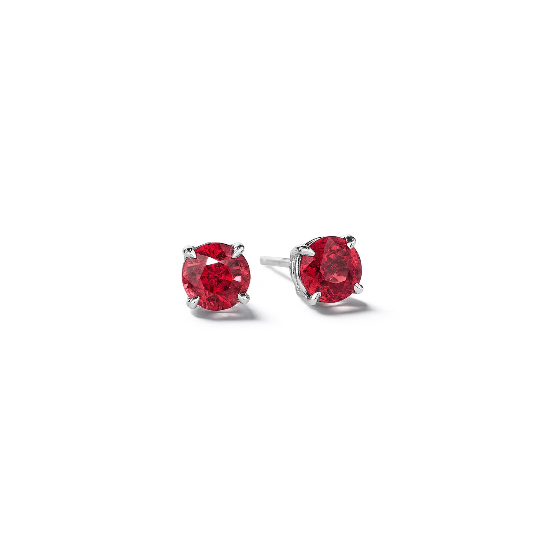 Round-brilliant-cut-ruby-stud-earrings_18k White Gold