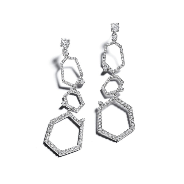 Jackson 3-Drop Pave Diamond Earrings_18k White Gold