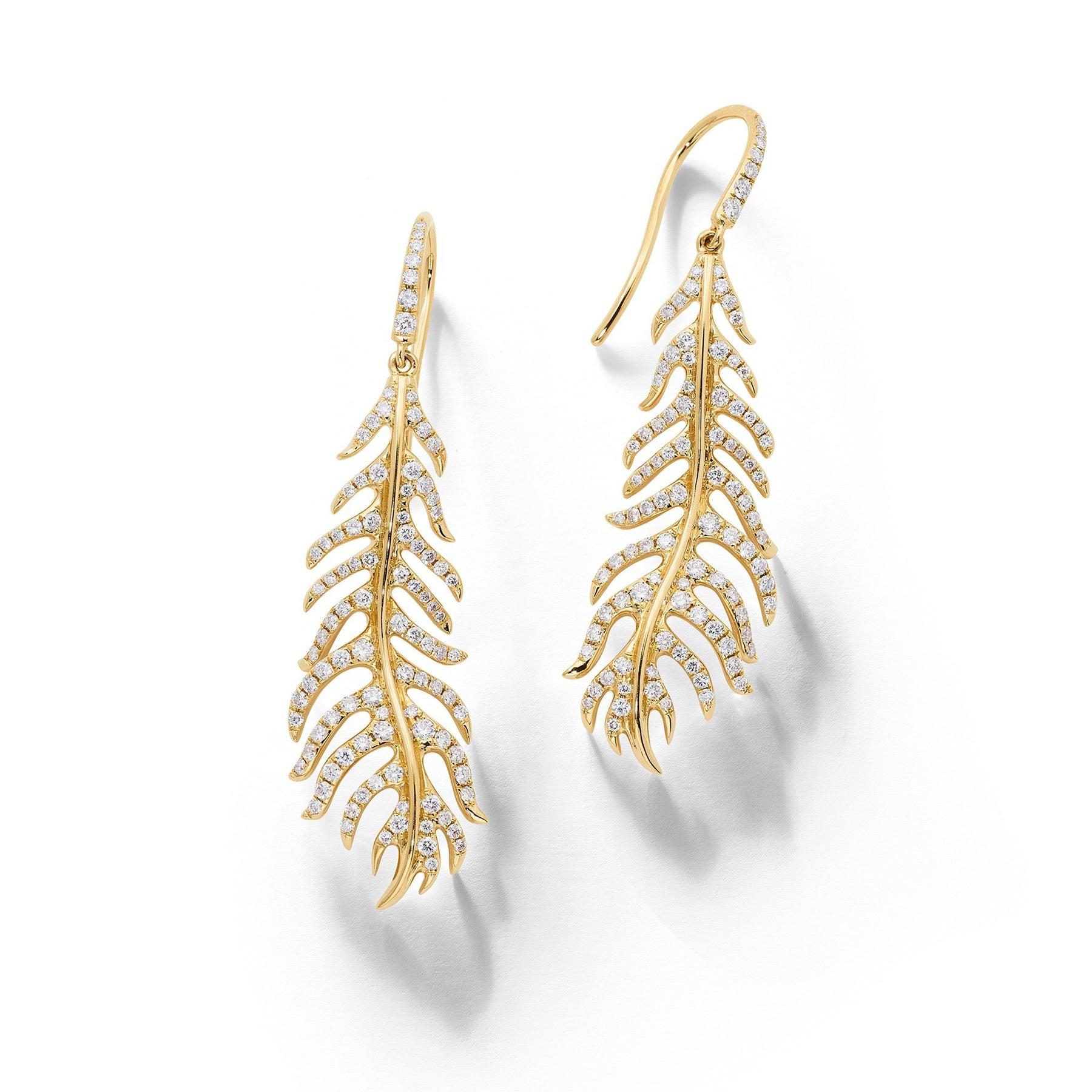 Phoenix Feather Diamond Earrings_18k Yellow Gold