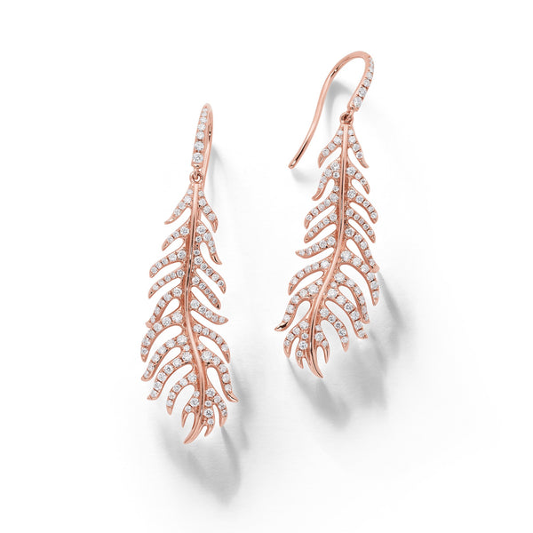 Phoenix Feather Diamond Earrings_18k Rose Gold