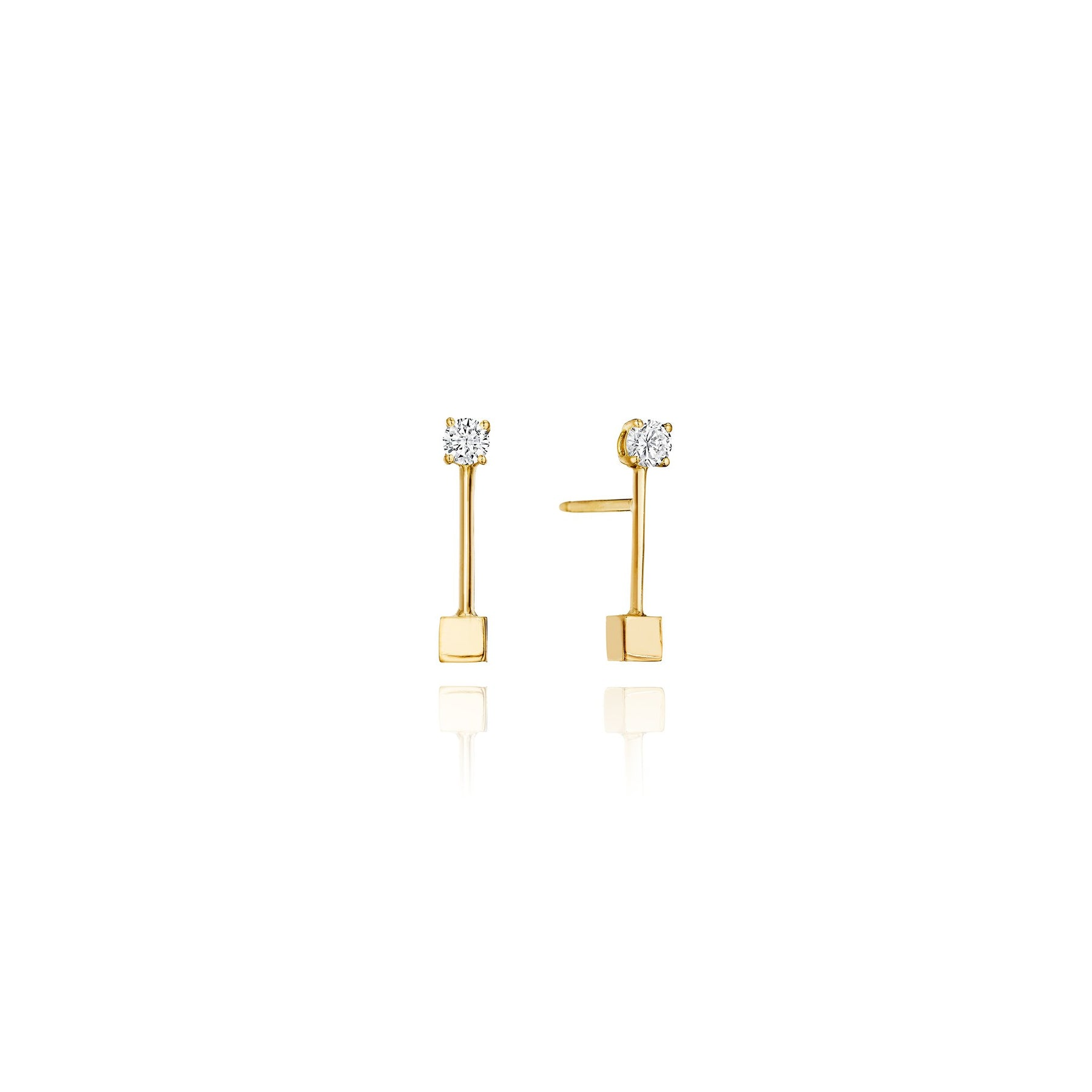 Mimi So Piece Stick Stud Earrings_18k Yellow Gold