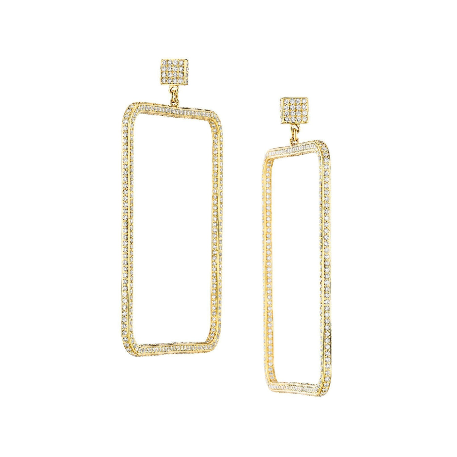 Piece Square 3D Diamond Drop Earrings_18k Yellow Gold